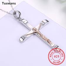 jewelry silver cross necklace images Antique silver jesus cross necklace 100 925 sterling silver cross jpg
