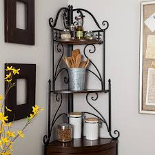 Corner Bakers Rack With Storage Amazon Com Belham Living Portica Wrought Iron And Wood Corner
