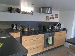 cuisine bois et plan de travail noir cuisine plan
