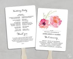 fan program printable wedding program fan template wedding fans diy wedding