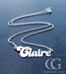 Sterling Silver Name Necklaces Personalised Solid Sterling Silver U0027claire U0027 Name Necklace 18