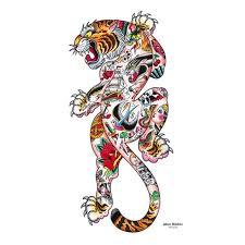 tiger by alex nuneztattoo print poster japanese style