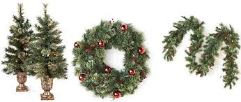 livingquarters set of two 3 5 prelit porch trees wreath or