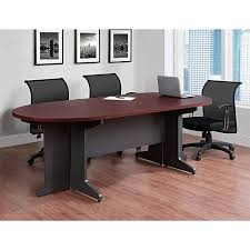 Staples Conference Tables Altra Pursuit 85 46 Oval Conference Table Cherry 9349096