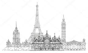 sketch collection of famous buildings eiffel tower st marco in