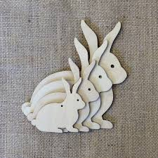 easter rabbits decorations bunny rabbits wooden childrens hanging craft decoration or