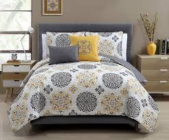 Grey And Yellow Comforters Amazon Com Hayden Reversible Decorative 5 Piece Quilt Set Gray