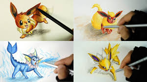 eevee evolution drawing vaporeon flareon jolteon youtube