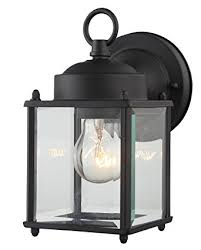 Waterproof Outdoor Lighting Fixtures Outdoor Wall Lantern Black Finished Steel Clear Glass Vintage