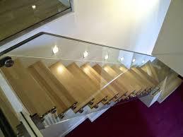 escalier garde corps verre straight staircase quarter turn wooden steps steel frame
