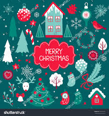 set vector christmas elements fir tree stock vector 520532518