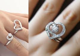 promise rings com images Unique double heart promise rings for her girlfriend women jpg