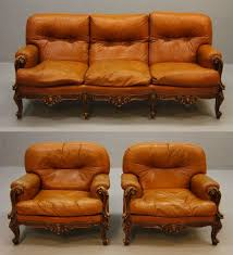 Chippendale Loveseat 1970s Chippendale Style Livingroom In Cognac Coloured Leather 3