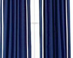 White Curtains With Blue Trim Navy Burlap Curtains Etsy