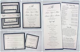 formal wedding programs formal navy blue belly band wedding invitations with monogram