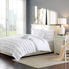 White And Blue Modern Bedroom Bedroom Wonderful White Ruffle Bedding With Decorative Pillows