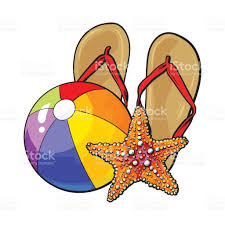 flip flops starfish and inflatable beach ball summer vacation