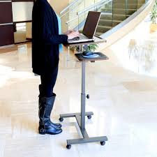 portable laptop desk cart mobile notebook stand rolling computer
