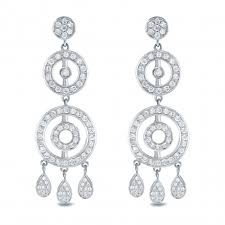 chandelier earrings 14k white gold 1 1 2ct tw diamond chandelier earrings h i si1