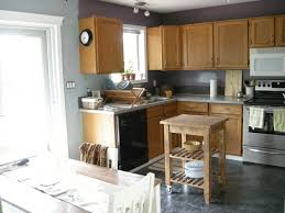 gray wall color plus light brown wooden kitchen cabinet and gray