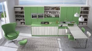 cuisine blanche et verte cuisine blanche et verte moderne avec les détails en bois grande