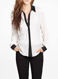black and white blouse tuxedo blouse with black trim