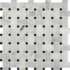 msi basket weave pattern random sized marble mosaic tile