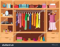 Wardrobe Interior Accessories Flat Design Walk Closet Shelves Accessories Stock Vector 447499999