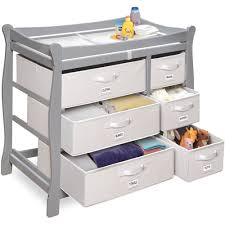 Badger Basket Baby Changing Table With Six Baskets Badger Basket Sleigh Style Changing Table With Six Baskets Gray