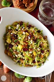thanksgiving dinner salad fall shredded brussels sprouts salad iowa eats