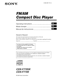 download free pdf for sony cdx f7705x car receiver manual