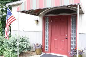 door red therma tru entry doors with black handle plus lamp on