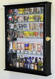 pint glass display cabinet amazon com large mirror backed and 7 glass shelves shot glasses