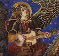 vihuela de mano Angeles musicos de la catedral de valencia vihuela de mano Angeles musicos de la catedral de valencia valencia cathedralwall muralswall mural paintingmusical instrumentsmedieval