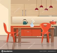интерьер дома кухни векторная иллюстрация плоский мультфильм