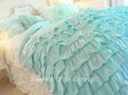 Beachy Comforters Sets Shabby Beach Cottage Aqua Ruffles Chic Comforter Set Twin Or Full