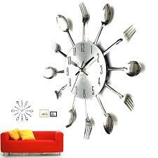 Kitchen Utensils Red - kitchen utensil red stainless steel wall clock tag stainless wall