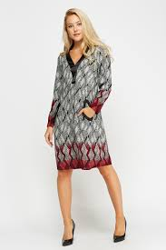 contrast printed tunic dress black just 5
