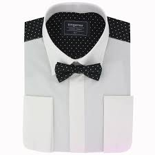 mens dress shirt with patterned back black and white pin dot 15