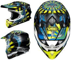 shoei motocross helmets shoei vfx w motocross mx helmet grant 2 tc 3 yellow blue