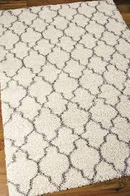 nourison area rug square cream black trellis pattern modern shag