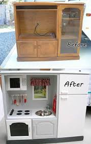 diy play kitchen ideas how to diy repurpose an old entertainment center into a play kitchen