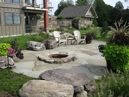 Rustic Firepit Outdoor Pit Vermont Landscaping Design Installation