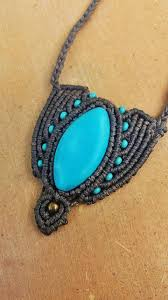 turquoise stone necklace magic stone turquoise macrame necklace gemstone jewelry brass