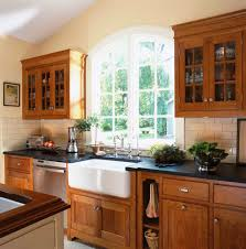 farmhouse sink cabinet kitchen victorian with black countertop