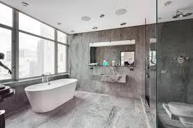 white and gray bathroom tile wall built in shelf sliding glass