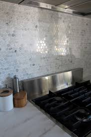 Hexagon Marble Backsplash Modern Houston - Marble backsplashes