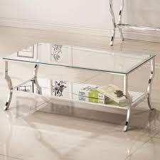 Chrome And Glass Sofa Table Coaster 720338 Glass Top Chrome Base Coffee Table With Mirrored Shelf