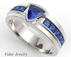 mens blue wedding bands men s wedding band trillion cut blue sapphire unique wedding band