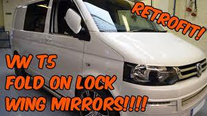 volkswagen t5 fold on lock power folding wing mirrors youtube